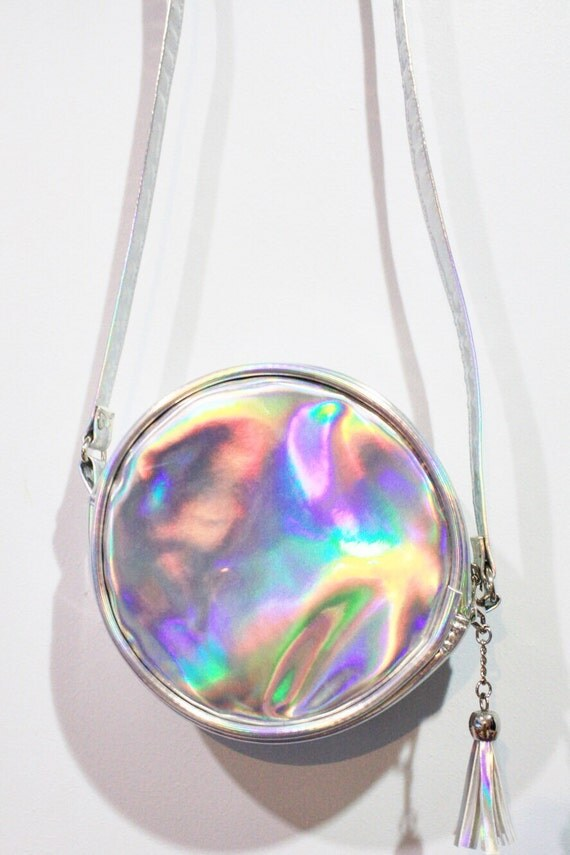Holographic Round Bag Hologram Cross Body Purse Silver Pouch