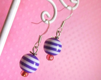 Dark Purple Stripey Bead Earrings with Tiny Pink Beads, Kawaii Cute Earrings, Cute, Fairy Kei for Girls, Kids, Children