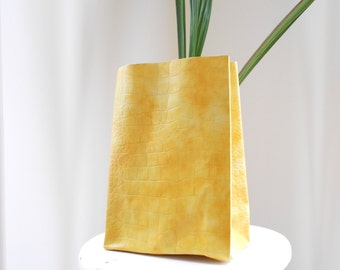 Yellow leather paperbag