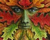 Autumn Green Man fine art limited edition giclee print