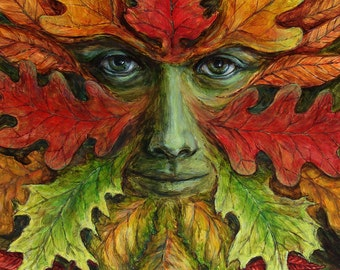 Autumn Green Man fine art limited edition giclee print