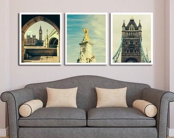 London Print Set, Tower Bridge Photo, Victoria Memorial Print, Big Ben Picture, Fine Art Photography Set, London Photographs, UK Print Set