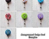 "Custom Monogram Retractable Badge Reel Holder Belt Clip - 1""Single Initial Lettering - Multiple Fabrics Available"