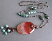 Long necklace, agate pendant, beaded necklae, handmade necklace, BoHo jewelry, bohemian necklace, gemstone necklace, layerying necklace