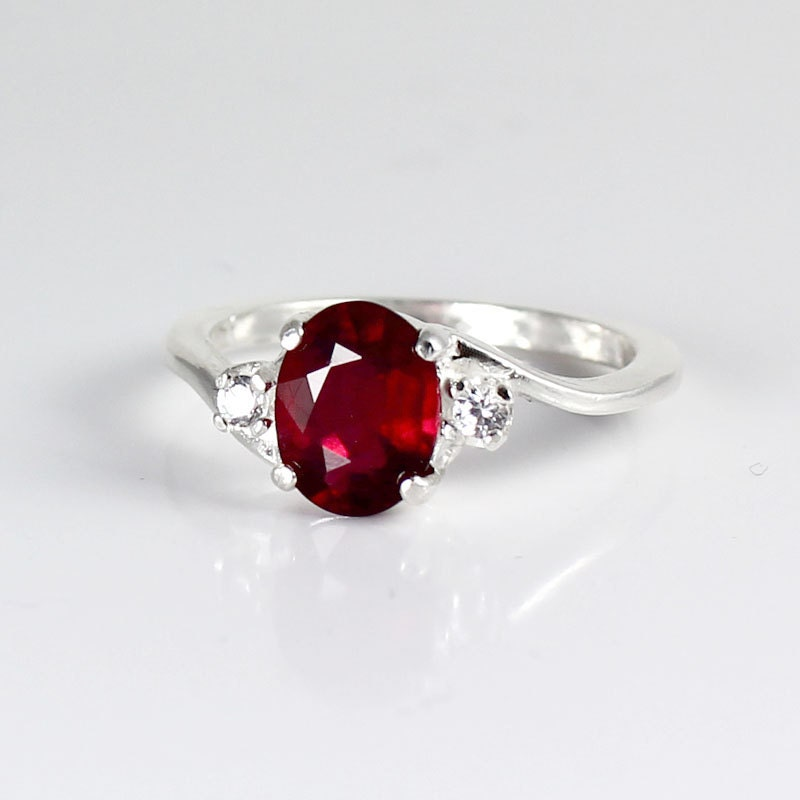 genuine ruby ring sterling silver pigeon blood by tsnjewelry