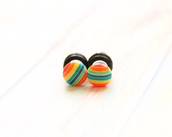 Rainbow Plugs for Stretched Ears 4g 2g 0g Colorful Gauges Piercing Jewelry Pride LGBT Size 4 2 or 0