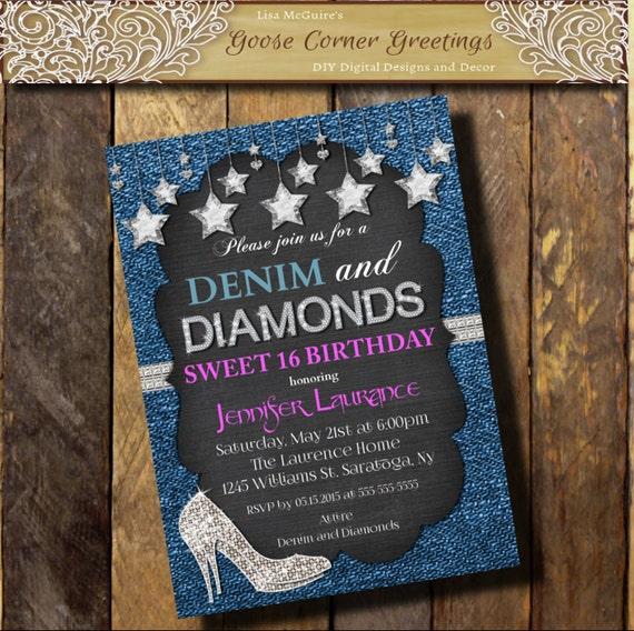 Denim Diamonds Hot Pink Invitation Sweet 16 21st 30th 40th