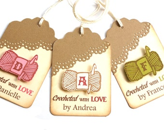 Personalized Crochet Tags - Hand Crocheted by Tags - Crocheted Tags - Crocheted Labels - Crochet Gift Tags - Hand Crocheted by Me