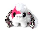 Big Fluse Kawaii Plush Rabbit  Leopard Ear Stuffed Animal  Pink White