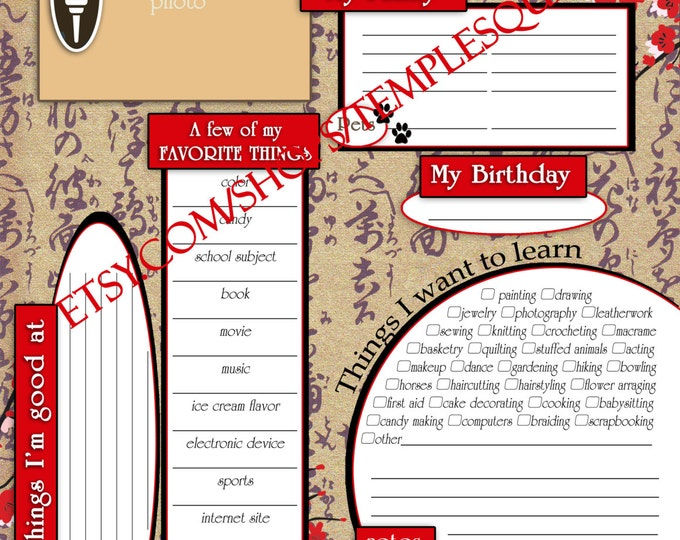 """Printable YW Presidency 2015 Calendar Planner ADD-ON """"Getting To Know Me Questionnaire"""" Embark in the Service of God Cherry Blossom theme"""