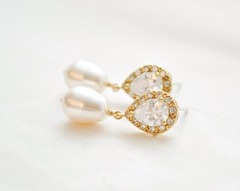 Gold Bridal Earrings, Gold Wedding Earrings, Gold Pearl and CZ Earrings, Gold Wedding Jewellery