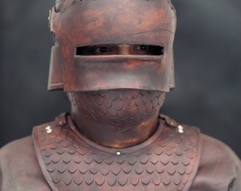 Leather helmet Sallet  - Barbarian Armor Helmet