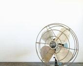 Vintage Small Green Industrial Fan . Retro Fan . Desk Fan . Industrial Decor