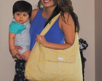 Yellow, grey and Blue flower Diaper bag