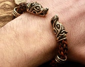 Bronze Wolf Heads Handmade Viking Braided Brown Genuine Leather Cuff Wire Bracelet