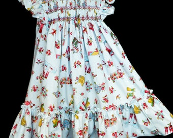 Hand-smocked cotton dress, age 5 to 6, multicoloured flowers and gumboots