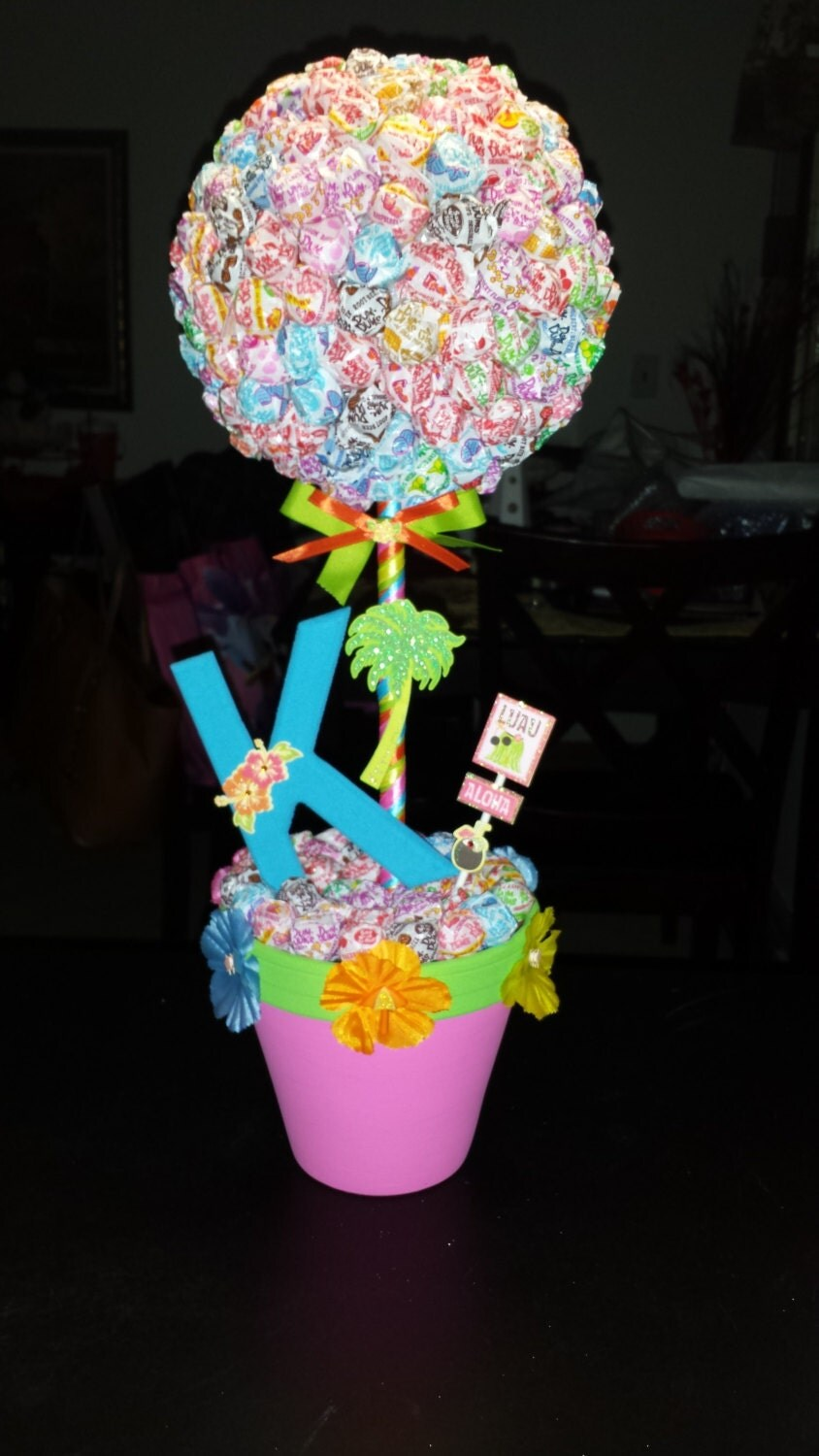 Luau Dum Dums Topiary Centerpiece Candy Station Theme Party