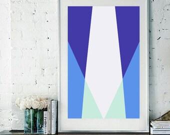 "Blue Geometric Vector Art Print / Poster - 11"" x 17"""