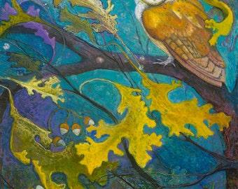 Moonlight Owl in the Oak Tree | Fine Art Archival Giclee Print