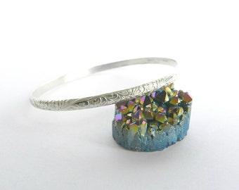 Sterling Silver Bangle Floral Bracelet
