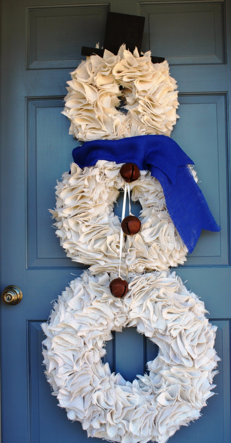 Snowman wreath christmas wreath white by jameandjacqscrafts for Snowman made out of burlap