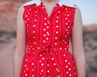 Red Polkadot Maxi Dress - size S/M - vintage bohemian, eclectic, mod dress by Yves Jennet