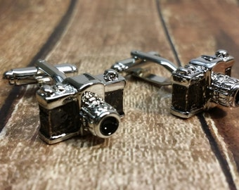 Camera Cufflinks with a Free Gift Box - Photograher, picture, camera, silver cuff links