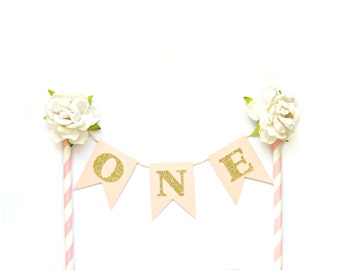 Pink & Gold Birthday Cake Topper - First Birthday Cake Topper, 1st Birthday, Cake Bunting, birthday, baby shower, tea party