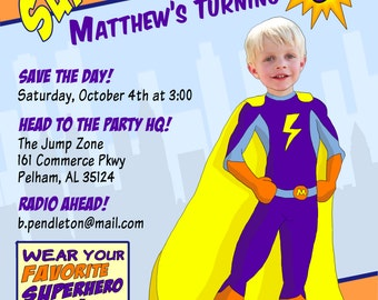 Superhero Party Invitation - Personalized Kids' Birthday Invitation - Printable Digital File