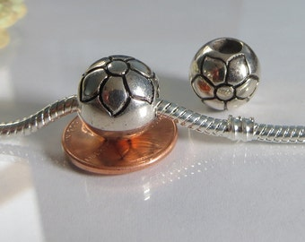 Round Daisy, Flower.  European Style Bead Charm for European Bracelet, fit ALL European Charm Bracelets, Gift