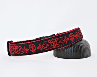 "Red & Black Skulls With Fleur De Lis Goth, Dog Collar, 1"" Wide"