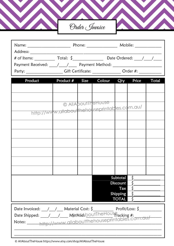 Direct Sales Order Invoice Form   Direct Sales Planner   Chevron   Business  Planner Template ALL 7 COLOURS   Editable PDF   Instant Download  Invoices Online Form