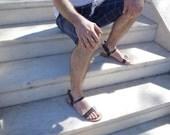 Mens Ermes winged handmade leather Greek sandals, Ermes messenger god