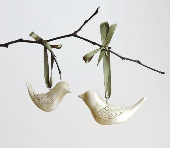 Bird Christmas Ornaments Turtle Dove Ornaments Clay
