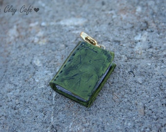 Green Antique Book Charm, Polymer Clay Charm, Handmade Polymer Clay Jewelry