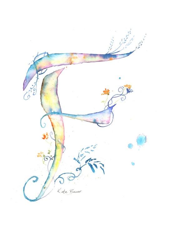 Letter F Watercolor Monogram Flower Lettering