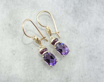 Ruby and Amethyst Gemstone Drop Earrings 3LC1VA-R