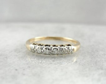 Vintage Wedding Band With Diamond Accents QC0YZZ