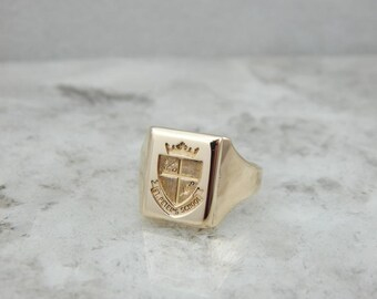 Vintage St Peter's School Signet Ring In Yellow Gold 40W8FM-D