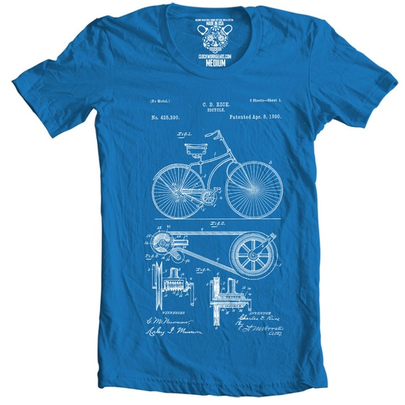 Bicycle patent t shirt printed in usa available by cwgclothing for T shirt printing usa