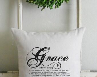 Grace Definition 20 x 20 Pillow Cover_faith, home decor, cushion, throw pillow, gift, present_