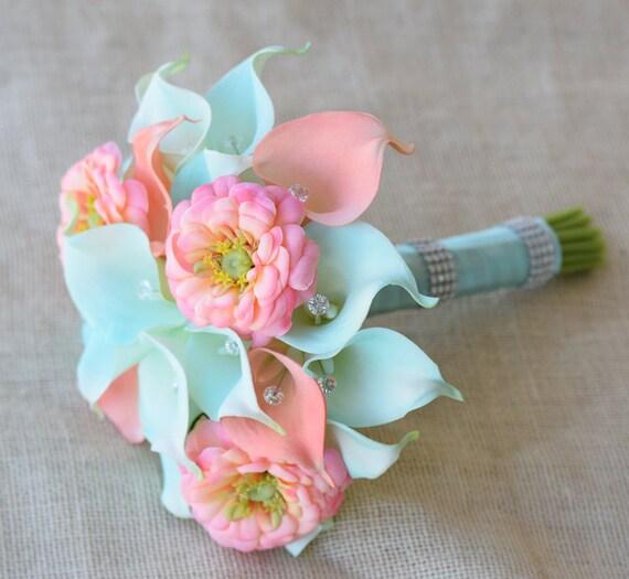 Mint Wedding Flowers: Silk Flower Wedding Bouquet Aqua Mint And Coral Peach Calla