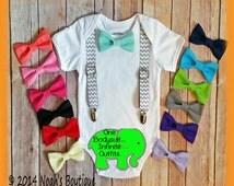 Baby Boy Spring Outfit - Summer Clothes - Baby Boy Clothes - Boy Shirt - Newborn Boy- Grey Chevron - Toddler Suspender - Bow Tie