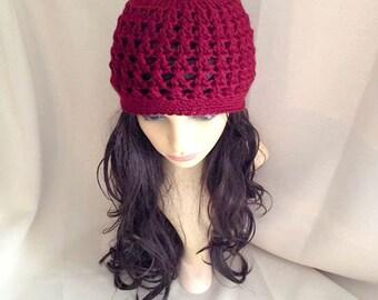 Chunky WOMEN BEANIE HAT / Burgundy crochet hat adult size