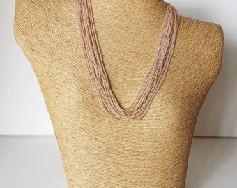 Toasted almond necklace, seed bead necklace,tan necklace, light brown necklace, beaded necklace,wedding jewelry, bridesmaid gift, bridesmaid