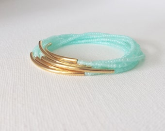 Mint bracelet, aqua bracelet, stretchy bracelet, turquoise bracelet, seed bead bracelet, silver bracelet, minimalist, noodle,beaded bracelet