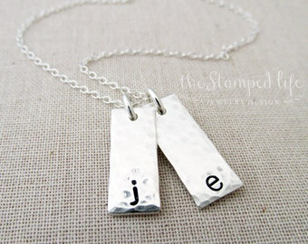 Sterling Silver Hand Stamped Initial Charms, Mother Jewelry, Mom, Personalized Necklace