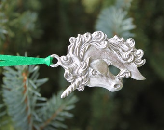 Lead Free Pewter Unicorn Ornament unicorn head Holiday Made in Michigan Christmas Stocking Stuffer Free Shipping