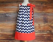 Navy Chevron Dress & Coral - Newborn to Child 11/12 girls pillowcase dress baby infant toddler matching dresses headband summer spring fall