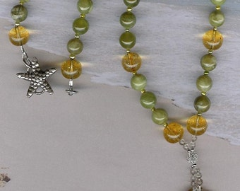 A Day at the Races - Agate Gemstone Seahorse, Citrine, Green Garnet, FW Pearls, Smoky Quartz, SS Necklace Sea Ocean Beach Jewelry
